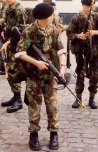 Short cadet. Stupidly long rifle.